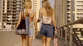 кошелек : two townswomen are strolling over streets of resort southern city with big bags, walking to a beach Стоковые видеозаписи