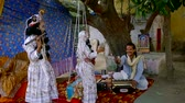 krishna : VRINDAVAN, India October 13, 2017: Donation from Krishnas faithful street musicians on the way of parikrama, Vrindavan is considered a Holy place. Stock Footage