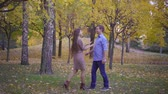 cherish : Happy couple walk in autumn forest. Stock Footage