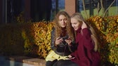 学者 : cheerful friends girl are taking selfies by smartphone camera, sitting on a bench in park in autumn