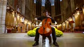 violinista : Man professional classical musician playing cello in the Cathedral Stock Footage