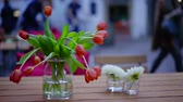 vaso : nice red tulips bouquet is standing in vase on a table of street cafe in evening time Stock Footage