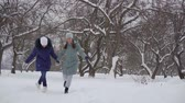 broadly : two cheerful adult women are holding hands and leaping over snow in park like little girls, smiling