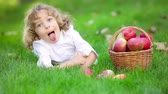 Child in spring park Stock Footage