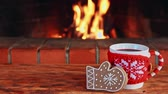 koncepciók : Cup of mulled wine and Christmas cookie against fireplace