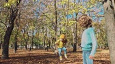 osoba : Children playing in autumn park