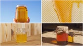 медовый : Honey collage. Different types of honey