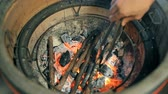 wood grill : Burning coals and sticks