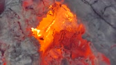 kindle : Glowing flame from charcoal and firewood in kiln.