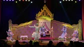 シャム : LOPBURI, THAILAND - FEBRUARY 28 : The unidentified Thai dancers perform Khon, The high art of Thai with elegance, on display at National Education Conference on Performing Arts on February 28, 2019 in 動画素材