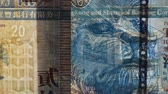 Close up of a banknote in transparency. Hong Kong dollar 動画素材