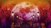 sopa : Spooky Halloween night, Pumpkin in a mystic forest Loop Stok Video