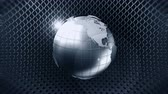netting : Metallic Earth Sphere with Wire Fence, CG Animation, Loop, Stock Footage