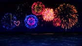 krizantem : Colorful Fireworks Light Up the Sky Over the Beach, CG Loop Animation,