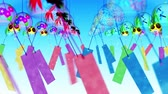 morning glory : Japanese Traditional Summer With Wind Chimes, Blue Background, Loop Animation,