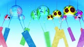 dragonfly : Japanese Traditional Summer With Wind Chimes, Blue Background, Loop Animation,