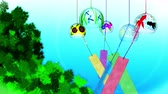 chimes : Japanese Traditional Summer With Wind Chimes, Blue And Green Background, Loop Animation,