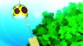 chimes : Blue And Green Background, Loop Animation, and Japanese Traditional Summer With Wind Chime