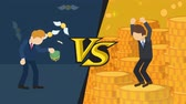carteira : Business difference. Rich man versus poor man. Inequality concept. Loop illustration in the flat style. VS.