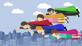 ヒーロー : Super Hero business team flying in suit and red cape. Leadership and achievement concept. Loop illustration in the flat style. 動画素材