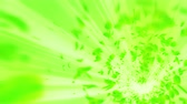 csigavonal : Vortex from green leaves. Spiral shiny particle of seasonal leaves. Dancing leaf. Colorful nature tunnel loop animation. Stock mozgókép