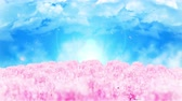 pfirsich : Spring forest landscape illustration, Abstract nature background, Cherry blossom loop animation,