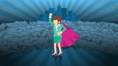 herói : Superhero standing on city background. Near a cloud of dust. Business woman symbol. Leadership and Achievement concept. Comic loop animation.