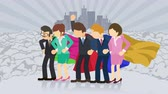 comique : Superheroes standing on City background. Dust dance. Business team symbol. Teamwork and Leadership concept. Comic loop animation.