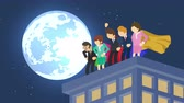 pelerin : Superheroes in moonlight city. Standing over skyscraper. Business team symbol. Teamwork and Leadership concept . Comic loop animation.