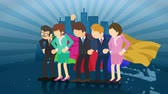 герои : Superheroes standing on City background. Dust dance. Business team symbol. Teamwork and Leadership concept. Comic loop animation.