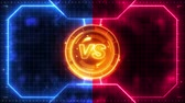 display : Futuristic sports game loop animation. Versus fight background. Radar neon digital display. X target mark. Game control interface element. Battle fight sports competition.