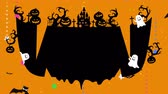 Smile mouse, teeth, drooling. Halloween illustration with copyspace. Mystic pumpkins, ghost and castle in forest. Black bats flying. Melted space for creative design. Loop animation.