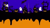 Halloween illustration with copyspace. Melted space for creative design. Liquid drop flows on halloween loop animation. Mystic pumpkins, ghost and castle in forest. Black bats flying.