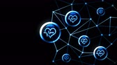 cuore sagoma : Heart with a heart beat icons floating. Electro Cardiogram. ECG. Communication connection. Heart with Pulse. Heart rate. Polygonal Space with Connecting Dots and Lines. Wireframe polygon and icon.