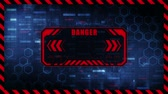 스트리밍 : Danger message with copy space. Hexagon geometric design and binary numbers background. Digital screens frame. Game design GUI. Technology concept.
