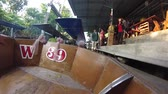 vor : January 30, 2012 Thailand. River Kwai. Floating market. Tour for tourists on the river. Travel to Thailand.