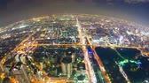 skyline : Timelapse video of Osaka in Japan at night, aerial view