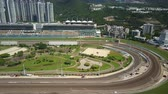 konie : Hong Kong, China - May 31, 2017: 4k aerial video of racecourse in Hong Kong