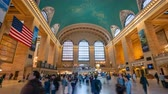 közép amerika : New York, USA - May 10, 2018: 4k hyperlapse video of commuters at Grand Central Station in New York