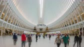 "ondergronds : New York, Verenigde Staten - 10 mei 2018: 4k hyperlapse video van pendelaars op het World Trade Center Transportation Hub, ook bekend als ""de Oculus"" Stockvideo"