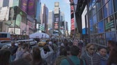bilboard : New York, USA - May 9, 2018: 4k video of walking at Times Square in New York