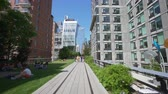 highline : New York, USA - May 24, 2018: 4k video of walking along The High Line in New York