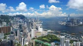hong kong skyline : 4k aerial video of Victoria Harbour in Hong Kong
