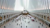 hub : New York, USA - May 10, 2018: 4k timelapse video of commuters at the One World Trade Center Transportation Hub, also known as the Oculus