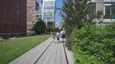 пешеходы : New York, USA - May 24, 2018: 4k video of walking along The High Line in New York