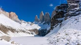 Патагония : 4k timelapse video of the granite towers at Mirador Las Torres in Torres del Paine national park of Chile Стоковые видеозаписи
