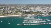 otomobil : 4k aerial video of Geelong city centre in Victoria, Australia Stok Video