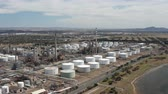 4k aerial video of an oil refinery