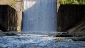 overflow pond : Spillway on the river. The flow of water falls down Stock Footage