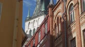 me : St. Olaf Church in Tallinn Old Town Stock Footage